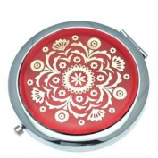 ASTRID 70mm Silver Red & Gold Compact Mirror
