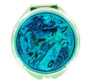 Compact Mirror - Abalone Round Blue