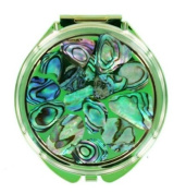Compact Mirror - Abalone Round Light Green