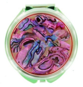 Compact Mirror - Abalone Round Pink