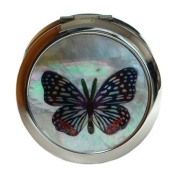 Mother of Pearl Blue Butterfly Design Double Compact Magnifying Cosmetic Makeup Purse Beauty Pocket Mirror