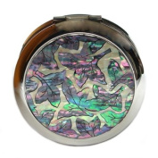 Mother of Pearl Green Purple Leaf Design Double Compact Magnifying Cosmetic Makeup Purse Beauty Pocket Mirror