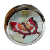 Mother of Pearl Red Butterfly Design Double Compact Magnifying Cosmetic Makeup Purse Beauty Pocket Mirror