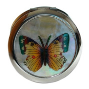 Mother of Pearl Yellow Butterfly Design Double Compact Magnifying Cosmetic Makeup Purse Beauty Pocket Mirror
