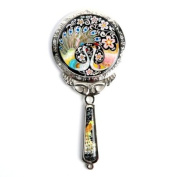 Mother of Pearl Princess Peacock Design Round Cosmetic Make up Hand Mirror