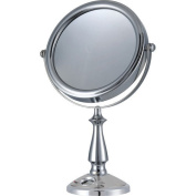 E-ware Elegant 9k007a1 Double-sided 1x/10x Makeup Table Top Mirror, 17.8cm , Mental with Satin Nickel Finish, Time Setting Clock with LCD Display for Masks, Travel Bag Included