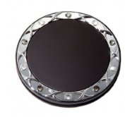 Brandon Femme M797 5X Normal View. Rhinestone Compact Mirror, Black