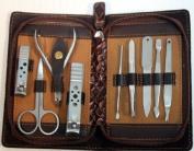 9 PC Dark Brown Colour Bag Kit Manicure Set