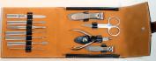 11 PC Black & Brown Purse Button . Bag Kit Manicure Set