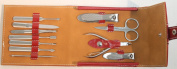 11 PC Red Purse Button . Bag Kit Manicure Set Stainless Steel