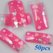 350BUY Sweet Clear Pink Hearts Acrylic French False Nail Art Tips 50pcs