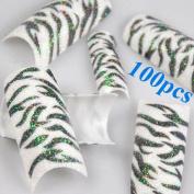 350BUY 100pcs Black White Zebra Design Tips Glitter Acrylic French False Nail Art Tips