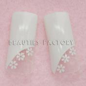 Airbrushed False Nail Tips x 70pcs - WHITE FLOWERS (#E162Nails) CODE