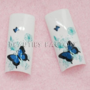 Airbrushed French Nail Tips (70pcs w/ tip box & glue) - BLUE BUTTERFLY CODE