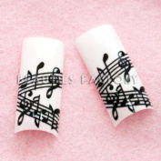 Airbrushed French Nail Tips (70pcs w/ tip box & glue) - MUSIC CODE