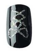 Party Nails Pre-glued 2x Sets of 12 Nails Each Pack Total of 24 Nails in Colour Black and Silver Sparkles #88040 + A-viva Eco Nail File