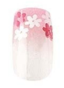 Party Nails Pre-glued 2x Sets of 12 Nails Eaoch Pack Total of 24 Nails in Colour Flower Power #88016 + A-viva Eco Nail File