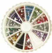 1200 Star & Olive Shape Nail Art Rhinestone Decorations