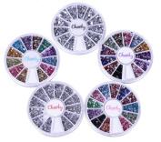 Nail Rhinestones- Amazing Value Bundle of Nail Art Rhinestones / Gemstones Wheels By Cheeky- 5 Wheels, Total of 7400 Rhinestones!!!
