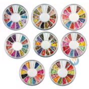 Winstonia's 8 Wheels Combo Set Nail Art Polymer Slices Fimo Decal Pieces Accessories - Butterflies, Bows, Animals, Fruit, Flowers, Dragonflies, Cupcakes, Hearts