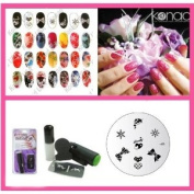 Konad Nail Art Mini Set Polish, Stamper, & Scraper + Image Plate M59 Lovely Bows + A-Viva Nail File
