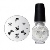 "Konad Nail Art Manicure Stamping Kit Image Plate M149.9cm Lovely"" + Special Nail Polish 11ml ""Silver"" + A-Viva Nail Buffer"