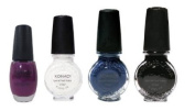 Konad Special Polish White Black Royal Blue+regular Polish Purple