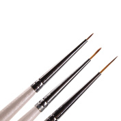 Set of 3 Professional Sable Nail Art Drawing Painting Pen Brush Detailer Liner Striper Tools