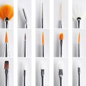 Yesurprise 15Pcs Pink Nail Art Tools Paint Dot Draw Pen Brush Set Uv Gel Diy Decorations