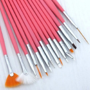 15pc Nail Art Design Dotting Brush Painting Pen Tool Set Pink Stick DIY Fit Tips