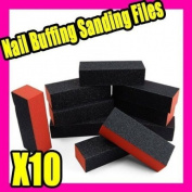 10 X Black Nail Art Buffer Sanding Block Files Gel 019
