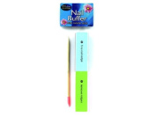 144 Packs of Nail buffer with cuticle stick