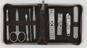 Mens Manicure Set (MMS4) - 9 Piece Brown Mock Croc Travel Manicure Set For Men