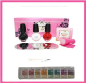 "Konad Professional SET B+ Itay Beauty Mineral 8 Stacks ""Caribbean Samba"" Shimmers for Nail Base Coat Polish + Eye"