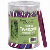 Satin Edge Slant Tip Tweezers In A Container 3 Colours