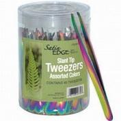 Satin Edge Slant Tip Titanium Tweezers In A Container / 48/Count