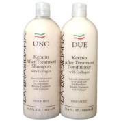 LA-BRASILIANA UNO Keratin After Treatment Shampoo 950ml + Conditioner 950ml Combo Set Sale!