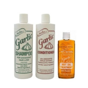 Nutrine Unscented Garlic Shampoo 470ml + Conditioner 470ml + Hot Oil Treatment 240ml