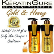 colour KERATIN SAFE SHAMPOO AND CONDITIONER GOLD AND HONEY BIO BRAZILIAN AFTER CARE 300ML 10 FL OZ