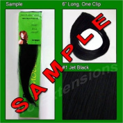 #1 Black, 15cm Sample of Clip on in Human Hair Extensions Set