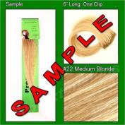 #22 Medium Golden Blonde, 15cm Sample of Clip on in Human Hair Extensions Set