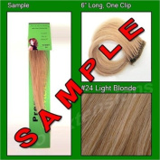 #24 Light Blonde, 15cm Sample of Clip on in Human Hair Extensions Set