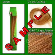 #24/27 Light Blonde with Dark Golden Blonde Highlights, 15cm Sample of Clip on in Human Hair Extensions Set