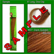 #27 Dark Golden Blonde, 15cm Sample of Clip on in Human Hair Extensions Set