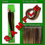 #4/27 Brown with Blonde Highlights, 15cm Sample of Clip on in Human Hair Extensions Set