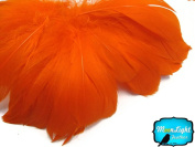 Moonlight Feather, Goose Feathers - Orange Strung Goose Nagoire Feathers - 5.1cm Strip