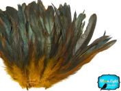 6.4cm Strip - GOLD Half Bronze Coque Tail Strung feathers
