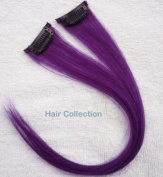 Hair Collection-30cm Purple 100% Human Hair Clip in on Extensions - 4.1cm widex2pcs