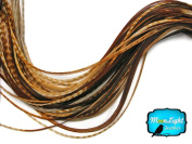 Hair Extension Feathers; Unique Ginger Thin Long Grizzly Rooster Feather; 10 Pieces Per Pack