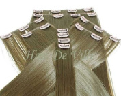 10 Pcs Full Head Heat Resistant Synthetic Clip In Hair Extensions 41cm 125 g Colour Light Brown